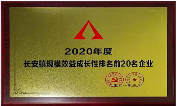 """中塑荣获""""2020年度长安镇规模效益成长性排名前20名企业"""""""